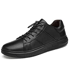 XUJW-Shoes, Athletic Shoes for Men Fashion Sneakers Lace Up Durable Comfortable Travel Driving Leather Outdoor Sport Running Walking Anti-Slip Flat Vegan Round Toe (Color : Black, Size : 8.5 UK)