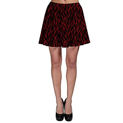 CowCow Womens Dark Red Flame Hell Fire Seamless Skater Skirt
