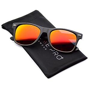 WearMe Pro - Horn Rimmed Sunglasses Revo Large Mirror Lens Sunglasses