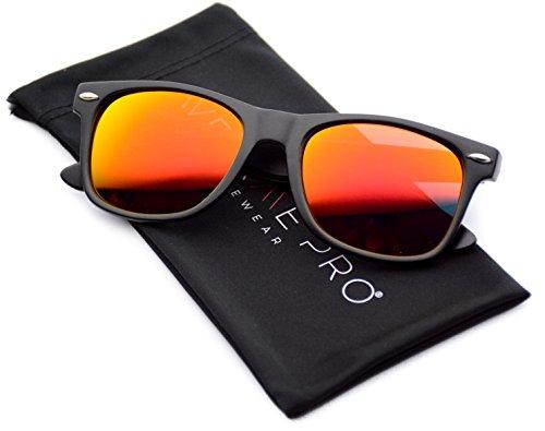 WearMe Pro - Horn Rimmed Sunglasses Revo Large Mirror Lens Sunglasses Red Mirrored Lens
