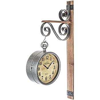 Amazon Com Rustic Dual Face Galvanized Metal Wall Clock