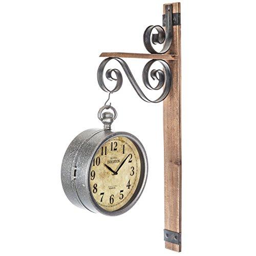 Rustic Dual Face Galvanized Metal Wall Clock