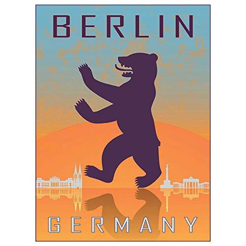 Wee Blue Coo Travel Tourism Berlin Germany Heraldic Rampant Bear Coat Arms Unframed Wall Art Print Poster Home Decor Premium