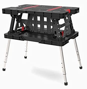 Keter Folding Work Table/Bench, 700-Lb. Capacity with Extendable Legs