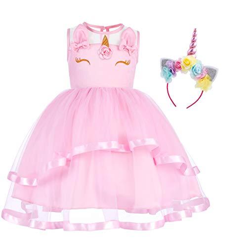 (Little Big Girl Unicorn Flower Applique Tutu Dress Pageant Party First Communion Halloween Fancy Dress Birthday Costume #1 Pink & Headband 8-9)