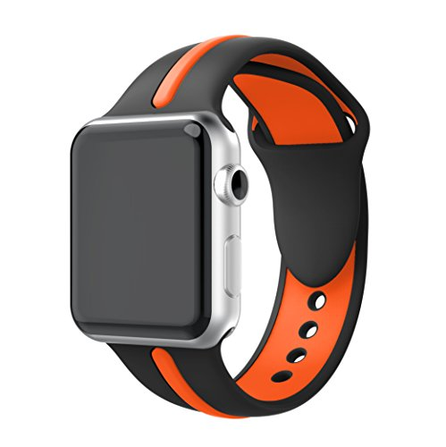 YASPARK Compatible Apple Watch Band 38mm/42mm, 40mm/44mm, Soft Silicone Strap Adjustable Replacement iWatch Bands for Apple Watch Sport, Series 4/3/2/1 (Large Size)