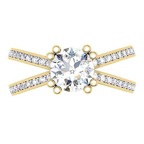 Dazzlingrock Collection 18K Round Cut Moissanite & White Diamond Bridal Split Shank Engagement Ring, Yellow Gold, Size 6.5