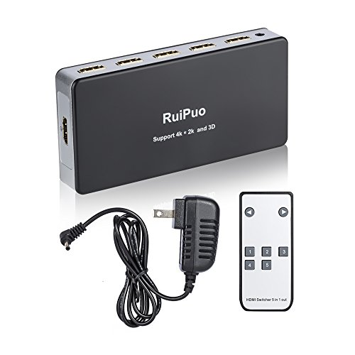 Cheap RuiPuo 4K HDMI Switch with remote, 5 Port HDMI Switcher 4k, 4k x 2k, 3D Ready, IR remote switc...
