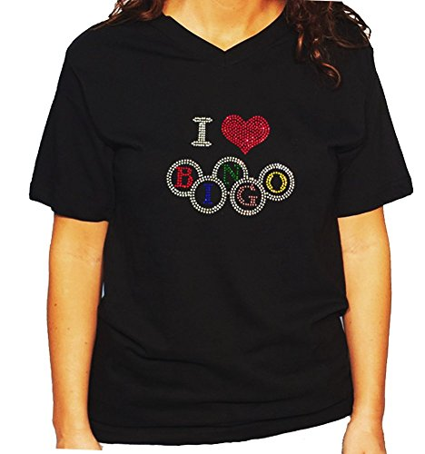 Women's / Unisex T-Shirt with I Love Bingo in Rhinestones (Large, Black V-Neck) -
