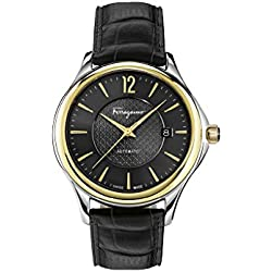 Salvatore Ferragamo Men's 'Time Automatic' Automatic Stainless Steel and Leather Casual Watch, Color:Black (Model: FFT020016)