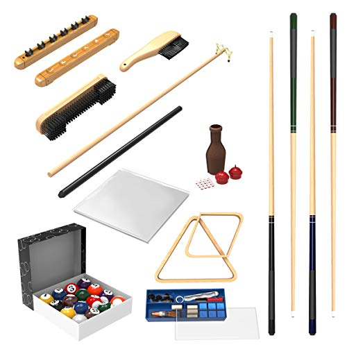 Pool Table Accessory 32 Piece Kit- Billiards Balls, Cues, Stick Repair, Roman Rack, Table Brush, Table Cover, Tally Bottle by Trademark Gameroom (Renewed) (Pool Table Nfl Cover)