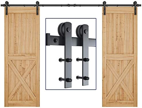 Fit 60 Wide Door Panel Includes Step-by-Step Installation Instruction Simple and Easy to Install Super Smoothly and Quietly I Shape Hangers 10ft Heavy Duty Sliding Barn Door Hardware Kit