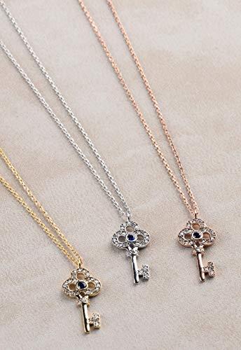 Diamond Key Necklace, Diamond Key Pendant, Key Charm Necklace, Silver Key Necklace, Real Diamond Key Charm, Birthday Gift Diamond Necklace