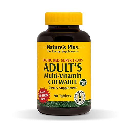 - Natures Plus Adults Multivitamin Chewable - 90 Vegetarian Tablets - Exotic Red Berry Flavor - Daily Vitamin & Mineral Supplement for Overall Health, Energy Booster - Gluten Free - 90 Servings