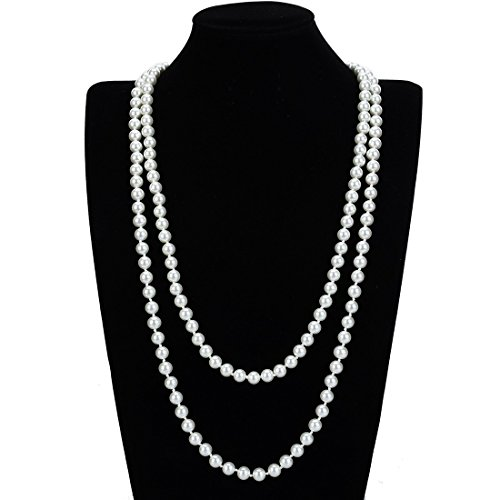 Vintage Faux Pearl (Vintage Faux Pearls Statement Beads Cluster Long Pearl Necklace)
