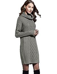 Mingnos Women Long Turtleneck Cable Knit Sweater Plus Size