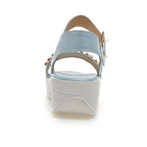Toe Material Open Heels Soft Solid Women's Blue Kitten AgooLar Buckle Sandals nqTUAU