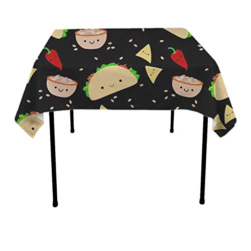 GOAEACH Taco Tuesday Party Rectangular Square Table Cloth Polyester Waterproof Wrinkle Free Table Cloth - Dinning Tabletop Decoration, Banquet, Picnic, BBQ Table Toppers -