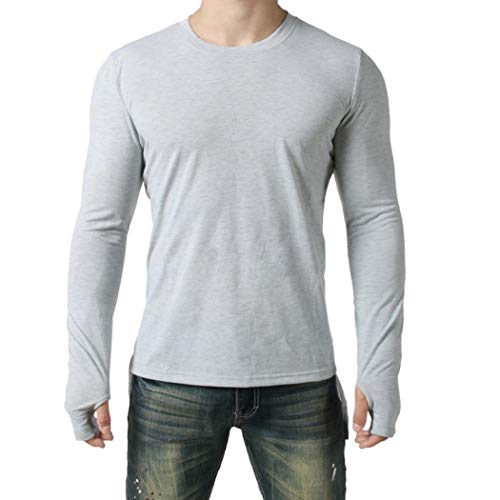 kaifongfu Long Sleeve Top for Men,Fit O Neck Solid Pollover Top Men Blouse(Gray,M)