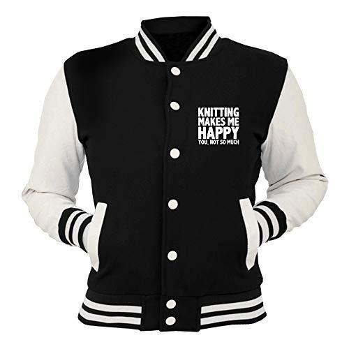 Nera Knitting T Black shirtshock Happy Wes0936 College Wo Giacca t7F1Fx4