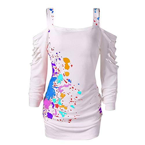 XOWRTE Women's Hollow Out Splatter Cut Out Lacerated Sleeve Tunic T-Shirt Blouse -
