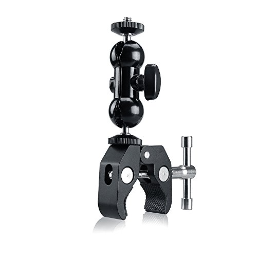 Ball Head Clamp Magic Arm Super Clamp Camera Ball Mount Clamp w/1/4-20 Thread Hot Shoe Adapter for Monitor, LED Lights, Flash Light, Microphone and More (Ball Clamp)