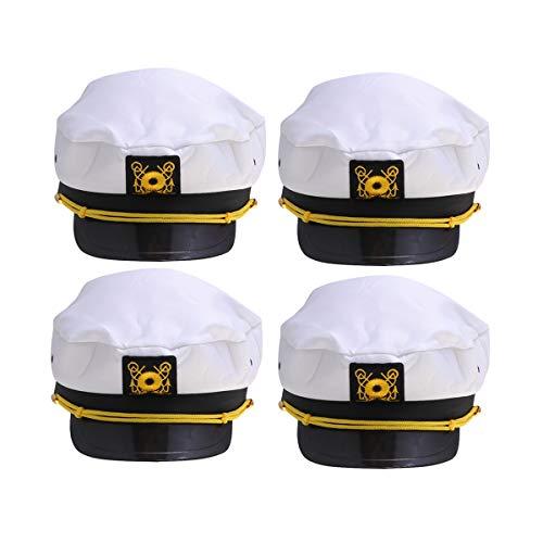 Amosfun 4 Pcs Captain hat Captain Yacht Sailors hat tie Snapback Adjustable sea Cap Navy Costume Accessory