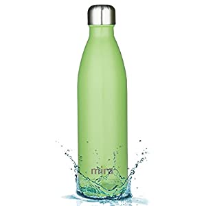 MIRA Vacuum Insulated Stainless Steel Water Bottle | Leak-proof Double Walled Cola Shape Sports Water Bottle | No Sweating, Keeps Your Drink Cold 24 hours or Hot 12 hours | 25 Oz (Cactus Green)