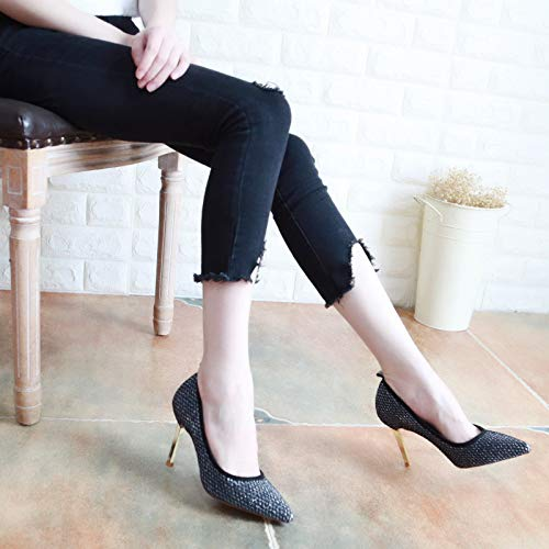 Fine Thin Shallow Head 7Cm Women'S Autumn Thirty High Sharp Silvery Mouth Fashion Shoes Sequins Heel Shoes Banquet Shoes KPHY Five Heel 8aY6qO8