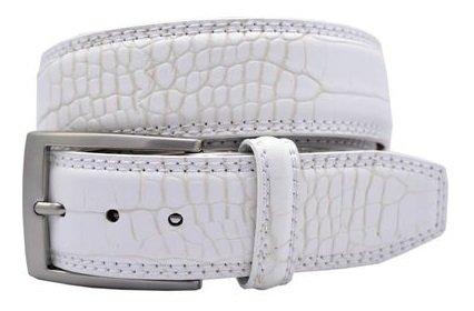 White Crocodile Belt (Greg Norman Crocodile Print Leather Belt- White)