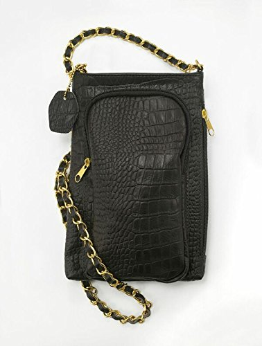 Dark Brown Croc - #1 Cross Body Purse Handbang- Truffle Dark Brown Genuine Leather with side zipper and front pocket to hold power bank to charge cell phone on the go
