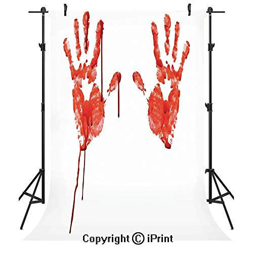 Horror Photography Backdrops,Handprint Like Wanting Help Halloween Horror Scary Spooky Flowing Blood Themed Print,Birthday Party Seamless Photo Studio Booth Background Banner 5x7ft,Red White ()