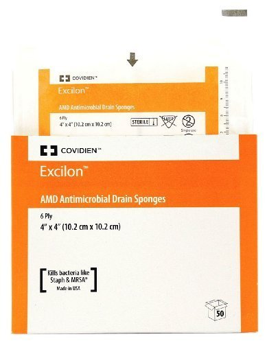Excilon AMD Antimicrobial Sterile Gauze Split Drain Sponges - 6 ply 4 x 4 - Tray of 50 by Kendall