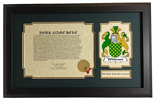 Whitmore - Coat of Arms and Last Name History, 14x22 Inches Matted and Framed