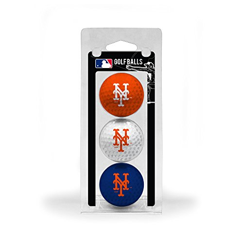 Team Golf MLB New York Mets Regulation Size Golf Balls, 3 Pack, Full Color Durable Team Imprint (York Mets New Ball)