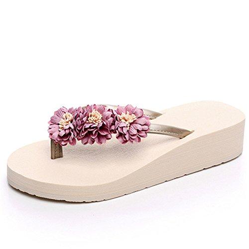 MRxcff Beach Flowers Flip Flops Wedges Sandals Casual Platform Shoes Woman Slip On Flats Slippers XWT570 beige 2 - Huts Beach Europe