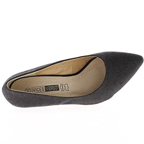 Tacón mujer zapatos negro 7.5 cm