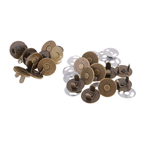 MonkeyJack 10 Sets / Pack Magnetic Purse Snap Clasps Button for Closure Purse Handbag Clothes Sewing Craft Silver/Bronze 14mm/18mm - bronze, 18mm