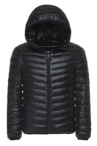 EQUICK Men's Hooded Down Coat Ultra Lightweight Waterproof Jacket Packable for Travel Black Snow cape Puffer