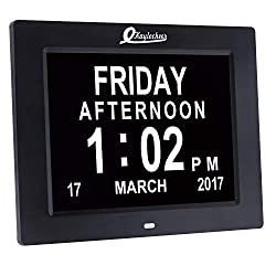 Large Digital Wall Clock- Digital Calendar- Dementia Clock for Seniors(with Visually Impaired- Memory Issues)- Used in Wall and Desk(8 Display Screen Size)