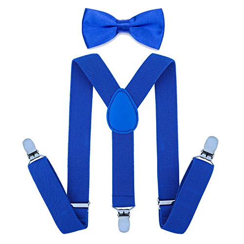 Child Kids Suspenders Bowtie Set - Adjustable Suspender Set for Boys and Girls (25Inches (5 Months to 6 Years),Royal blue)