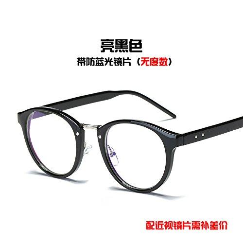Daimao radiación azules y de gafas sección Bright de anti de Corea a Black retrovisor grande los mujeres azul caja equipo marea KOMNY hombres Gafas plano prueba gafas espejo para anti UpInwSq8