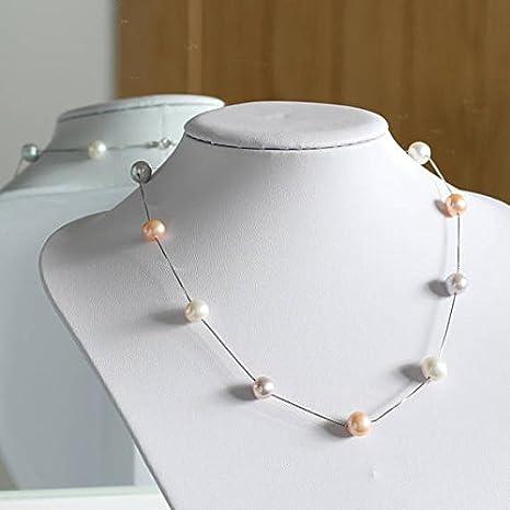 Collar de perlas flotantes, color rosa blanco y lila perlas, auténtica joyería de perlas de agua dulce, collar de plata de ley 925, regalo de aniversario para ella de 7 a 8 mm