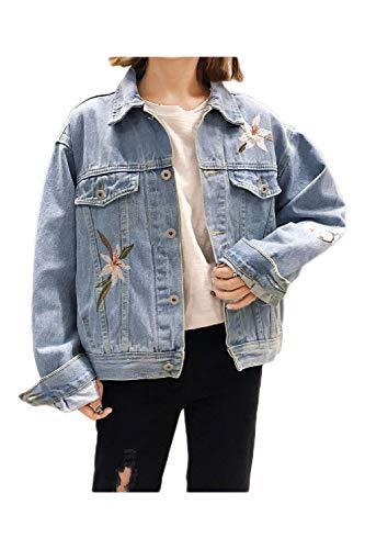 Outerwear Relaxed Donna Giacche Jeans Blau Ricamate Autunno Giubbino Lunghe Ragazze Casual Maniche Fidanzato Giacca Tendenza Giovane Giubbotto Denim Moda Cxxwz0aq
