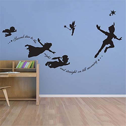 Jisao Removable Vinyl Mural Decal Quotes Art Peter Pan, Sticker Custom Fantasy Fairytale Mmagic Tinkerbell, Nursery, Pixiedust Boys Girls Room Decor