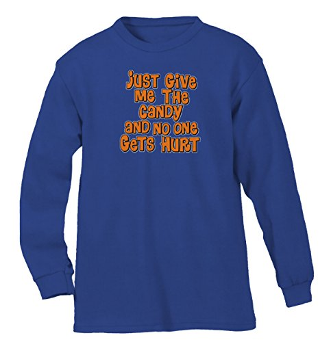 Give Me The Candy And No One Gets Hurt Men's Long Sleeve Shirt, SpiritForged Apparel, Royal 3XL (Spirit Halloween Sf)