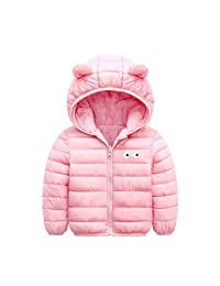Baby Boys Girls Down Jacket Ears Hoodie Autumn Winter Coat Fleece Lined Reversible Outwear Solid Lightweight Outfits