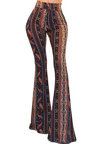 Vivicastle Women's USA Boho Comfy Stretchy Bell Bottom Flare Pants (BP59, Multi, Large)