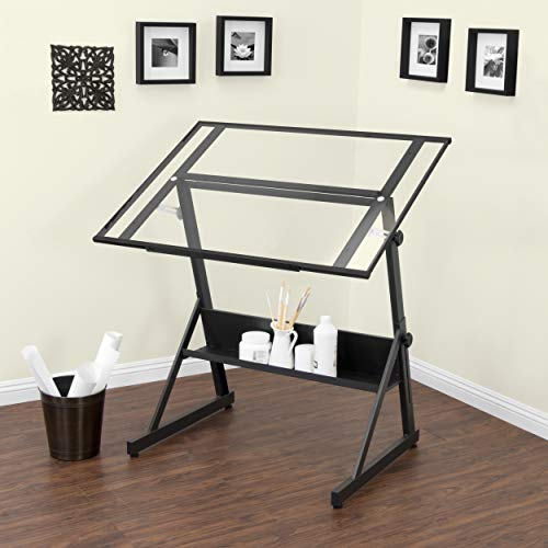 Charcoal Clear Glass - Studio Designs 13346 Solano Adjustable Height Drafting Table, Charcoal/Clear Glass