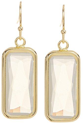 Moonstone Rectangle Gold Clad Wholesale Gemstone Fashion Jewelry Drop Earrings